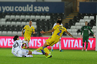 Daniel Leadbitter of Bristol Rovers is fouled by Yan Dhanda of Swansea City U21 during the Checkatrade Trophy match between Swansea City U21 and Bristol Rovers at the Liberty Stadium in Swansea, Wales, UK. Wednesday 05 December 2018