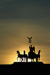 The Quadriga on top of the Brandenburg Gate, Berlin, 5 October 1991. Photograph copyright Graham Harrison.