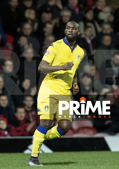 Souleymane Doukara of Leeds United during the Sky Bet Championship match between Brentford and Leeds United at Griffin Park, London, England on 26 January 2016. Photo by Andy Rowland / PRiME Media Images.