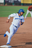 Ronny Brito (5) of the Ogden Raptors during the game against the Idaho Falls Chukars at Lindquist Field on July 2, 2018 in Ogden, Utah. The Raptors defeated the Chukars 11-7. (Stephen Smith/Four Seam Images)