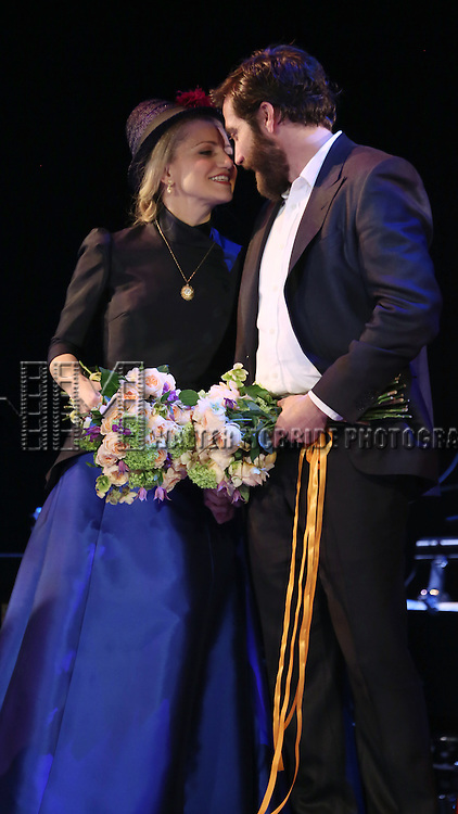 Annaleigh Ashford with Jordan Gelber, Liz McCartney, Brooks Ashmanskas, Phillip Boykin, Penny Fuller and Robert Sean Leonard during the opening night performance curtain call bows for 'Sunday in the Park with George' at the Hudson Theatre on February 23, 2017 in New York City.