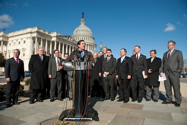 UNITED STATES – JANUARY 18: Rep. Austin Scott, R-Ga., and House Republican Freshman hold a news conference on a 1,000 days without budget and the Republican jobs bills outside of the Capitol on Thursday, Jan. 18, 2012. Photo by Bill Clark)