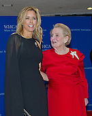 Tea Leoni, left, and former United States Secretary of State Madeleine Albright arrives for the 2015 White House Correspondents Association Annual Dinner at the Washington Hilton Hotel on Saturday, April 25, 2015.<br /> Credit: Ron Sachs / CNP