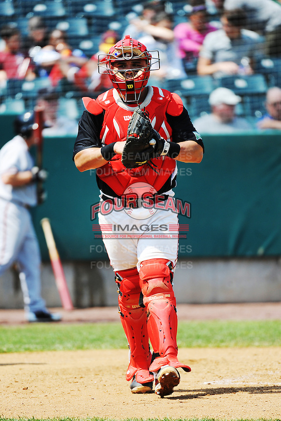 New Britain Rock Cats catcher  Josmil Pinto (36) during game against the Richmond Flying Squirrels at New Britain Stadium on May 30, 2013 in New Britain, CT.  New Britain defeated Richmond 2-1.  (Tomasso DeRosa/Four Seam Images)