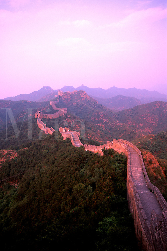 Colorful sunset at the great Wall of China in Jinshanlin