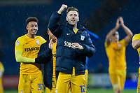 Paul Gallagher of Preston North End celebrates his side's win at full time of the Sky Bet Championship match between Cardiff City and Preston North End at the Cardiff City Stadium, Cardiff, Wales on 29 December 2017. Photo by Mark  Hawkins / PRiME Media Images.