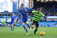 Sheffield Wednesday v Huddersfield Town, 14.1.2017<br /> <br /> EFL Sky Bet Championship<br /> Picture Shaun Flannery/Trevor Smith Photography<br /> <br /> Huddersfield's Nahki wells holds off Wednesday's Glenn Loovens.
