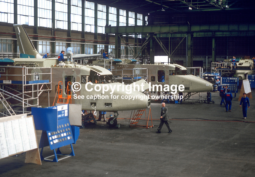 Short Brothers Ltd, Belfast, factory floor, production, assembly, short range feeder aircraft, 1985. 19850611SBS5.<br />