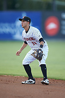 Kannapolis Intimidators second baseman Nick Madrigal (10) on defense against the West Virginia Power at Kannapolis Intimidators Stadium on July 25, 2018 in Kannapolis, North Carolina. The Intimidators defeated the Power 6-2 in 8 innings in game one of a double-header. (Brian Westerholt/Four Seam Images)