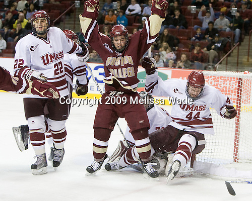 Michael Marcou (UMass - 22), Cam Atkinson (BC - 13), Matt Irwin (UMass - 44) - The Boston College Eagles defeated the University of Massachusetts-Amherst Minutement 3-1 on Friday, December 4, 2009, at the Mullins Center in Amherst, Massachusetts.
