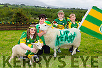 Kerry, Bridget and Holly Richardson and Eoin Doona all Beaufort and their animals supporting the Kerry team in the All ireland final