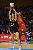 7th September 2017, Te Rauparaha Arena, Wellington, New Zealand; Taini Jamison Netball Trophy; New Zealand versus England;  Silver Ferns Bailey Mes (Front) takes a pass as she is intercepted by Englands Geva Mentor