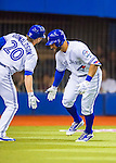 1 April 2016: Toronto Blue Jays outfielder Kevin Pillar is greeted by Josh Donaldson after hitting a home run to lead off a pre-season exhibition series against the Boston Red Sox at Olympic Stadium in Montreal, Quebec, Canada. The Red Sox defeated the Blue Jays 4-2 in the first of two MLB weekend games, which saw an attendance of 52,682 at the former home on the Montreal Expos. Mandatory Credit: Ed Wolfstein Photo *** RAW (NEF) Image File Available ***