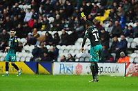Rhian Brewster of Swansea City jokingly gives the referee a yellow card during the Sky Bet Championship match between Preston North End and Swansea City at the Deepdale Stadium in Preston, England, UK. Saturday 01 February 2020