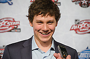Carolina Hurricanes rookie Jeff Skinner talks to the media prior to the All-Star Fantasy Draft at the Raleigh Convention Center Raleigh, NC, 1/28/2011.