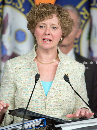 United States Representative Susan Brooks (Republican of Indiana) one of the Republican members of the US House Select Committee on the Events Surrounding the 2012 Terrorist Attack in Benghazi, Libya, makes remarks at a press conference in the US Capitol in Washington, DC announcing the release of the committee report on Tuesday, June 28, 2016.  <br /> Credit: Ron Sachs / CNP