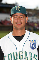 Kane County Cougars first baseman Henry Moreno #11 during a Midwest League game against the Clinton LumberKings at Coveleski Stadium on August 16, 2012 in South Bend, Indiana.  Kane County defeated Clinton 5-3.  (Mike Janes/Four Seam Images)