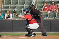 Kannapolis Intimidators catcher Gunnar Troutwine (37) sets a target as home plate umpire James Jean looks on during the game against the Delmarva Shorebirds at Kannapolis Intimidators Stadium on June 4, 2019 in Kannapolis, North Carolina. The Intimidators defeated the Shorebirds 9-0. (Brian Westerholt/Four Seam Images)