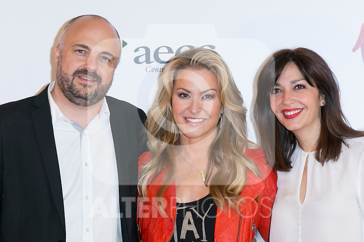 "Javi Nieves (left) US singer ANASTACIA (Center) and Mar Amate (Right) at the presentation of her new album ""Resurrection"" an the Charity Concert ""Por Ellas"" at the Spanish Against Cancer Asociation (AECC) building in Madrid, Spain. May 20, 2014. (ALTERPHOTOS/Carlos Dafonte)"