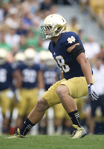 August 31, 2013:  Notre Dame inside linebacker Dan Fox (48) during NCAA Football game action between the Notre Dame Fighting Irish and the Temple Owls at Notre Dame Stadium in South Bend, Indiana.  Notre Dame defeated Temple 28-6.