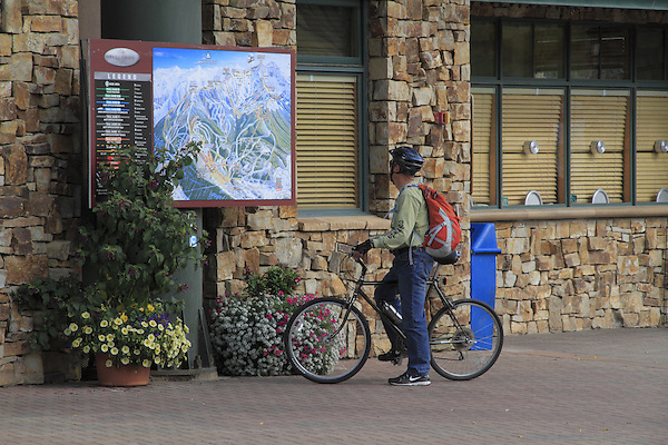 Male mountain biker looking at trail map, Telluride, Colorado.