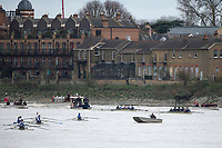 London. United Kingdom, Congested Water, as the crews race the &quot;Chiswick Bend&quot; during the  2017. Oxford University, Annual Trial Eights, raced over the Championship Course,  Putney to Mortlake. River Thames, <br /> <br /> Wednesday  06/12/2017<br /> <br /> [Mandatory Credit:Peter SPURRIER Intersport Images]<br /> <br /> OUBC Crew Names. <br /> STABLE White Shirts<br /> Bow. Jonathan Olandi<br /> 2. Charles Buchanan<br /> 3. Will Cahill<br /> 4. Alexander Wythe<br /> 5. William Geffen<br /> 6. Anders Weiss<br /> 7. Iain Mandale<br /> Stroke. Vassilis Ragoussis<br /> Cox. Zachary Thomas Johnson<br /> <br /> STRONG Black Shirts<br /> Bow. Luke Robinson<br /> 2. Angus Forbes<br /> 3. Nicholas Elkington<br /> 4. Benedict Aldous<br /> 5. Tobias Schroder<br /> 6. Joshua Bugajski<br /> 7. Claas Mertens<br /> Stroke. Felix Drinkall<br /> Cox. Anna Carbery
