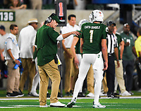 NWA Democrat-Gazette/CHARLIE KAIJO Colorado State Rams head coach Mike Bobo instructs quarterback K.J. Carta-Samuels (1) during the fourth quarter of a football game, Saturday, September 8, 2018 at Colorado State University in Fort Collins, Colo.