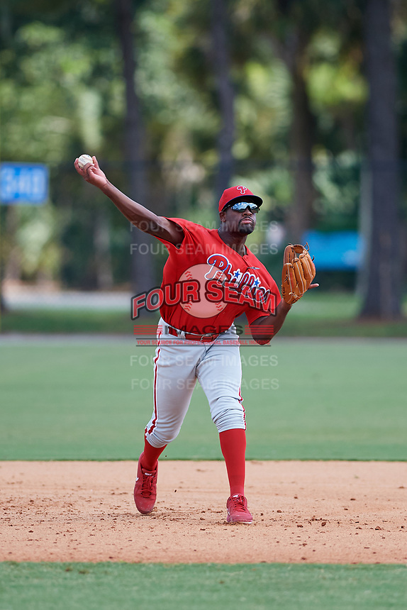 GCL Phillies third baseman D.J. Stewart (10) throws to first base during a game against the GCL Tigers East on July 25, 2017 at TigerTown in Lakeland, Florida.  GCL Phillies defeated the GCL Tigers East 4-1.  (Mike Janes/Four Seam Images)