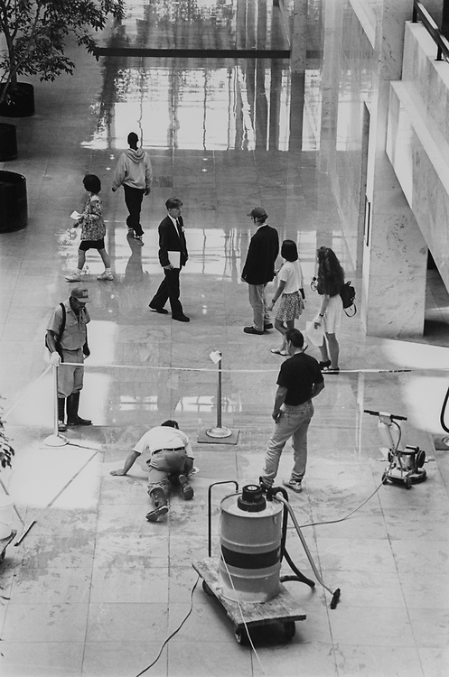 Waxing Marble floor in Hart Senate Office Building on July 14, 1994. (Photo by Laura Patterson/CQ Roll Call via Getty Images)
