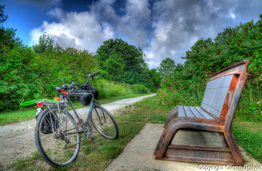A rest along the Howard Watson Trail, Blackwell Road bench, Sarnia.