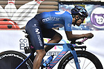 Race leader Richard Carapaz (ECU) Movistar Team recons the course before Stage 21 the final stage of the 2019 Giro d'Italia, an individual time trial running 17km from Verona to Verona, Italy. 2nd June 2019<br /> Picture: Fabio Ferrari/LaPresse | Cyclefile<br /> <br /> All photos usage must carry mandatory copyright credit (© Cyclefile | Fabio Ferrari/LaPresse)