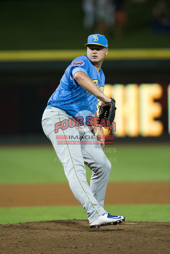 Myrtle Beach Pelicans relief pitcher Michael Heesch (37) in action against the Winston-Salem Dash at BB&T Ballpark on August 20, 2015 in Winston-Salem, North Carolina.  The Dash defeated the Pelicans 5-4 on a walk-off wild pitch in the bottom of the 9th inning.  (Brian Westerholt/Four Seam Images)