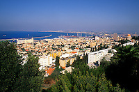 Resort town of Haifa city scape taken from Bahai Dome Israel