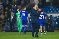 Cardiff City manager Neil Warnock celebrates his side's win at full time of the Sky Bet Championship match between Cardiff City and Leeds United at the Cardiff City Stadium, Cardiff, Wales on 26 September 2017. Photo by Mark  Hawkins / PRiME Media Images.