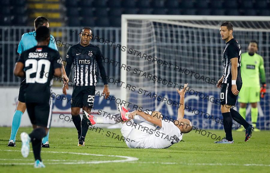 Fudbal Super League Season 2017-2018<br /> Partizan v Cukaricki<br /> Ognjen Mudrinski (R) posle starta Everton (L) povreda injury slomljena noga<br /> Beograd, 01.10.2017.<br /> foto: Srdjan Stevanovic/Starsportphoto &copy;