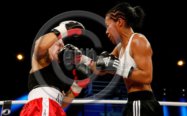 "BAYREUTH - BAVARIA - GERMANY 17. MAY 2008 -- Box show in Bayreuth - Norwegian Cecilia Braekhus (right) vs. Adelita Irizarry (USA), which Braekhus on Unanimous Point Victory  -- PHOTO: CHRISTIAN T. JOERGENSEN / EUP & IMAGES..This image is delivered according to terms set out in ""Terms - Prices & Terms"". (Please see www.eup-images.com for more details)"