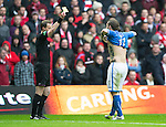 St Johnstone v Aberdeen...13.04.14    William Hill Scottish Cup Semi-Final, Ibrox<br /> Referee Willie Collum books Stevie May after he took his shirt off when celebrating his second goal<br /> Picture by Graeme Hart.<br /> Copyright Perthshire Picture Agency<br /> Tel: 01738 623350  Mobile: 07990 594431