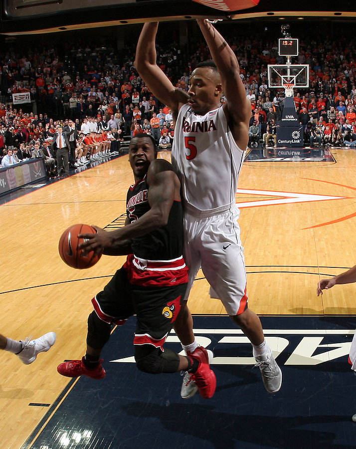 Louisville guard Chris Jones (3) during the game Saturday Feb. 7, 2015, in Charlottesville, Va. Virginia defeated Louisville  52-47. (Photo/Andrew Shurtleff)