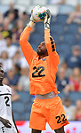 Goalkeeper Adrian Foncette (22) of Trinidad and Tobago catches a Guyana shot on goal  during their Gold Cup match on June 26, 2019 at Children's Mercy Park in Kansas City, KS.<br /> Tim VIZER/AFP