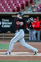 Lansing Lugnuts outfielder Lane Thomas (9) swings at a pitch during a Midwest League game against the Wisconsin Timber Rattlers on April 29th, 2016 at Fox Cities Stadium in Appleton, Wisconsin.  Wisconsin defeated Lansing 2-0. (Brad Krause/Four Seam Images)