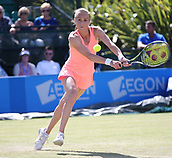June 15th 2017, Nottingham, England; WTA Aegon Nottingham Open Tennis Tournament day 6;  Magdalena Rybarikova of The Slovak Republic reaches for a backhand in her match against Alison Riske of USA