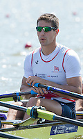 Brandenburg. GERMANY. GBR M4X. Sam TOWNSEND.<br /> 2016 European Rowing Championships at the Regattastrecke Beetzsee<br /> <br /> Friday  06/05/2016<br /> <br /> [Mandatory Credit; Peter SPURRIER/Intersport-images]