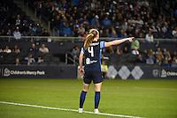 Kansas City, Kansas - Saturday April 16, 2016: FC Kansas City defender Becky Sauerbrunn (4) directs her teammates against Western New York Flash at Children's Mercy Park. Western New York won 1-0.
