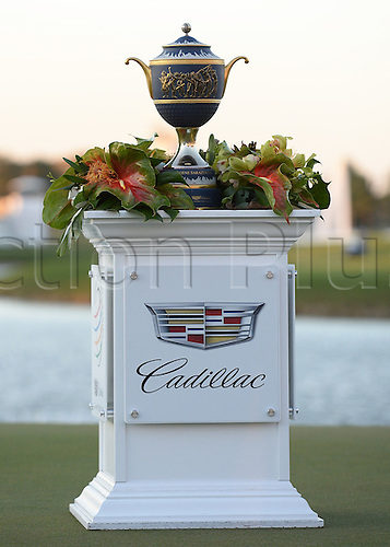 06.03.2016. Doral, Florida, USA.   The Championship Trophy before the final round of the World Golf Championships-Cadillac Championships - Final Round at Trump National Doral in Doral, FL