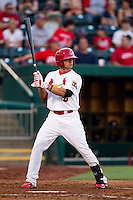 Jose Garcia (3) of the Springfield Cardinals at bat during a game against the Arkansas Travelers at Hammons Field on June 13, 2012 in Springfield, Missouri. (David Welker/Four Seam Images)