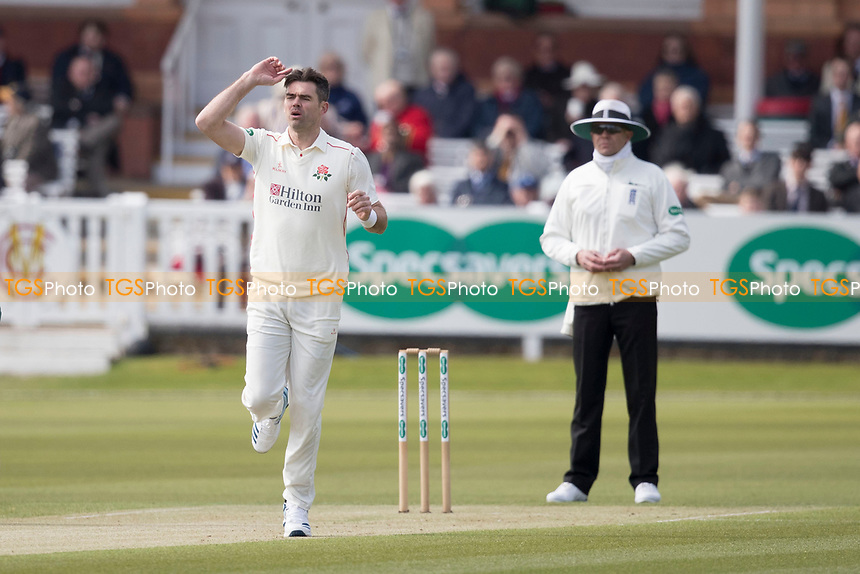 James Anderson of Lancashire CCC can't believe there's no nick during Middlesex CCC vs Lancashire CCC, Specsavers County Championship Division 2 Cricket at Lord's Cricket Ground on 11th April 2019
