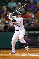 Rice Owls first baseman Skyler Ewing #44 at bat during the NCAA baseball game against the TCU Horned Frogs on March 1, 2014 during the Houston College Classic at Minute Maid Park in Houston, Texas. Rice defeated TCU 1-0. (Andrew Woolley/Four Seam Images)
