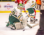 25 November 2016: University of Vermont Catamount Goaltender Madison Litchfield, a Senior from Williston, VT, makes a first period save against the Saint Cloud State Huskies at Gutterson Fieldhouse in Burlington, Vermont. The Lady Cats defeated the Huskies 5-1 to take the first game of the 2016 Windjammer Classic Tournament. Mandatory Credit: Ed Wolfstein Photo *** RAW (NEF) Image File Available ***