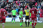 Referee Dudley Phillips shows Munster scrum half Duncan Williams the yellow card.<br /> Guiness Pro12<br /> Scarlets v Munster<br /> 21.02.15<br /> ©Steve Pope -SPORTINGWALES