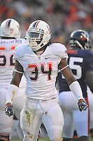 28 November 2009:  Virginia Tech RB Ryan Williams (34) rushed for 183 yards and 4 TDs.  The Virginia Tech Hokies defeated the Virginia Cavaliers 42-13 at Scott Stadium in Charlottesville, VA..